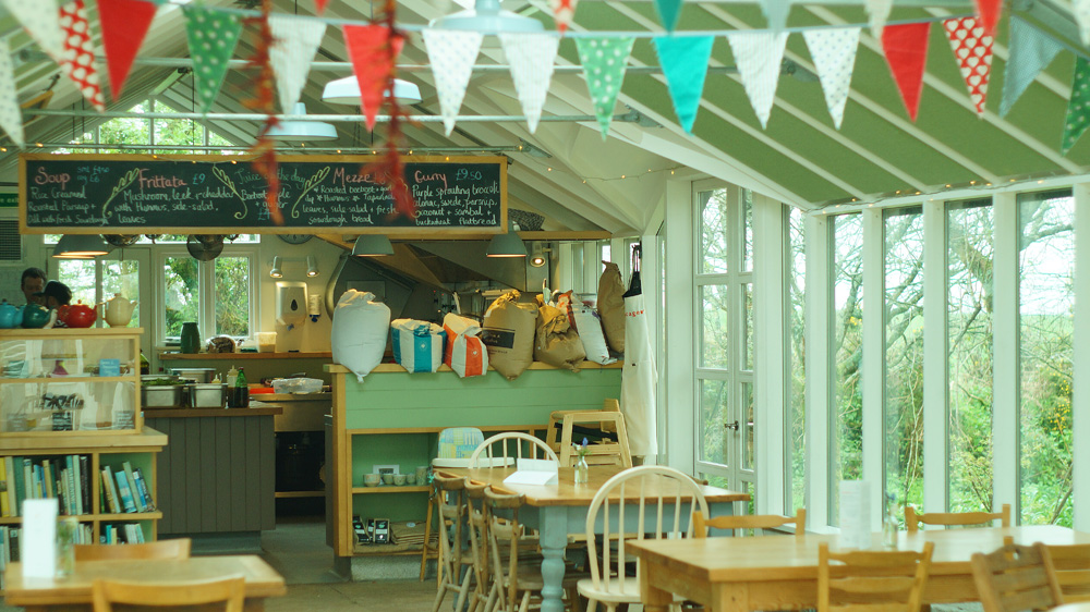 Interior Potager garden cafe vegetarian cafe in Constantine, Cornwall
