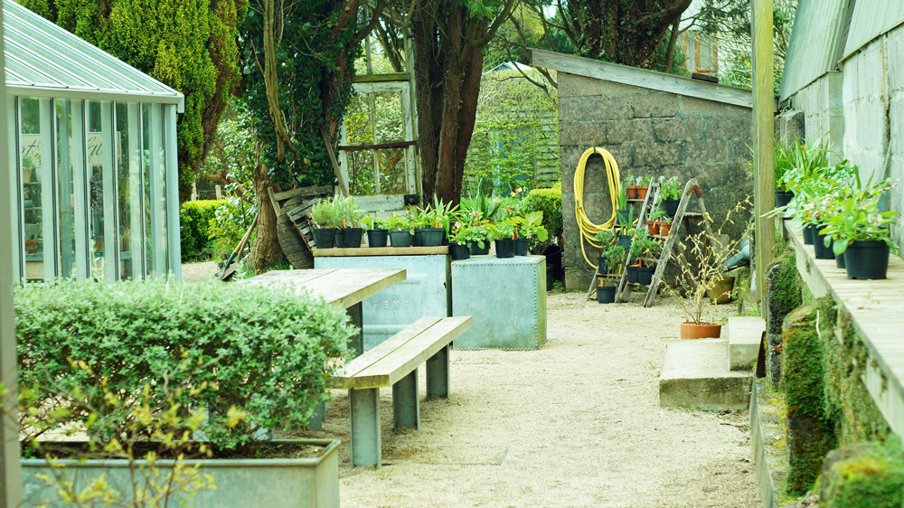 Outside tables at Potager Garden Cafe in Constantine Cornwall