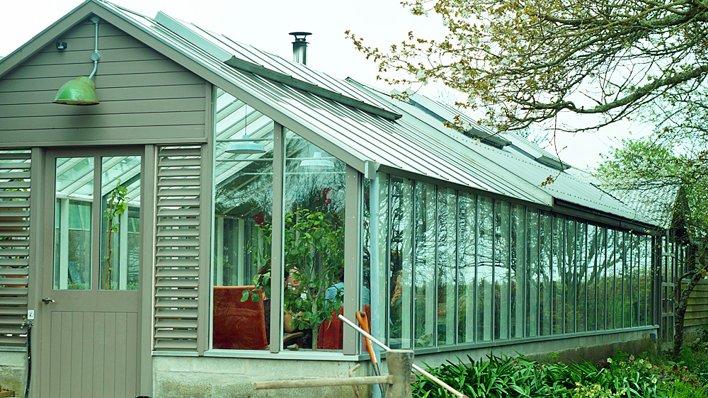 Potager garden cafe Constantine Cornwall greenhouse building