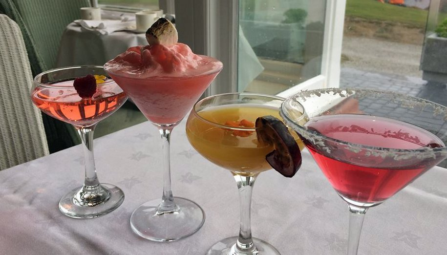 Cocktails at Samphire restaurant, Headland Hotel, Newquay