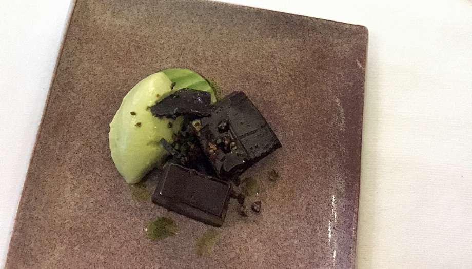 Dark chocolate and lime dessert at Samphire restaurant, Headland Hotel, Newquay
