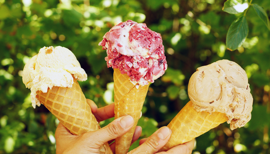 Callestick farm ice cream - three flavours