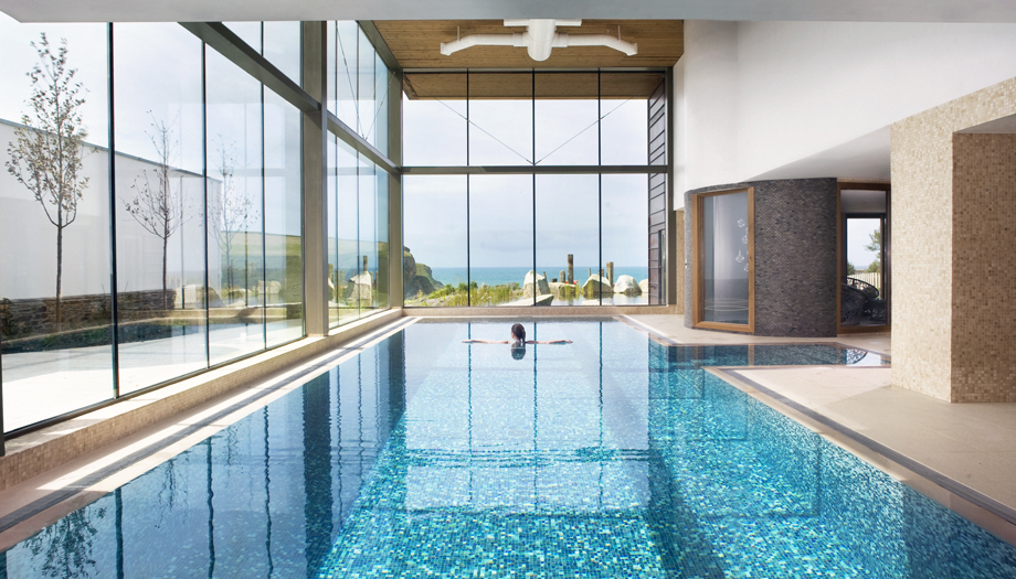 Indoor swimming pool at the Scarlet Hotel Spa in Cornwall