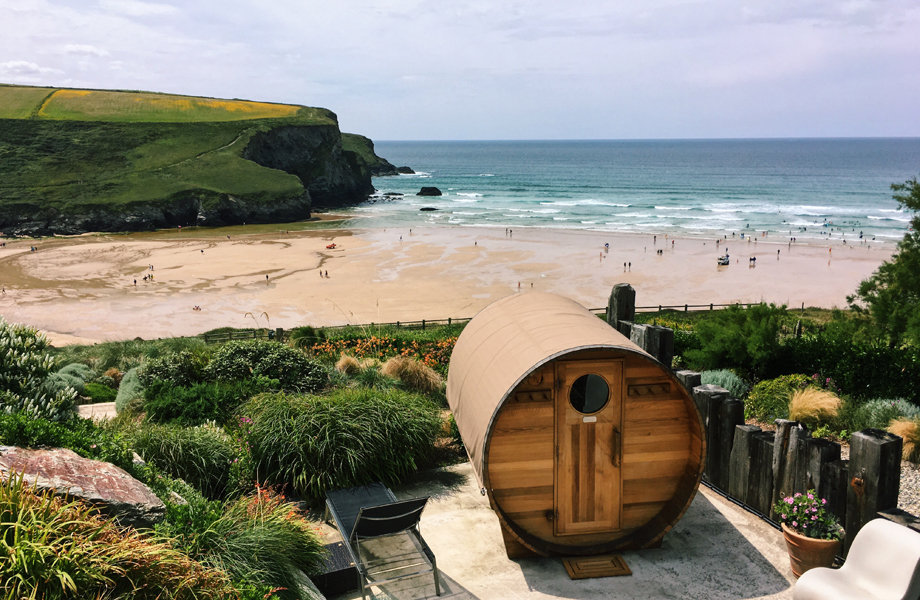 Cedar wood barrel sauna at Scarlet Hotel Spa in Cornwall