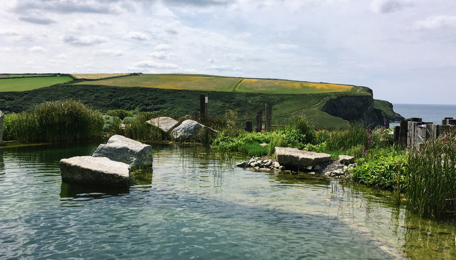 Natural outdoor swimming pool at Scarlet Hotel Spa in Cornwall