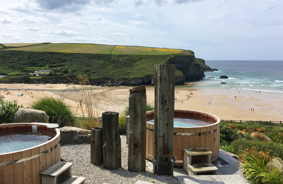 Cedar wood cliff-top hot tubs at Scarlet Hotel Spa in Cornwall