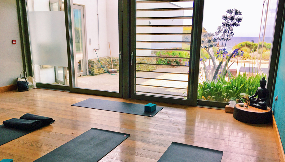 Sea-view yoga studio at Scarlet Hotel Spa in Cornwall