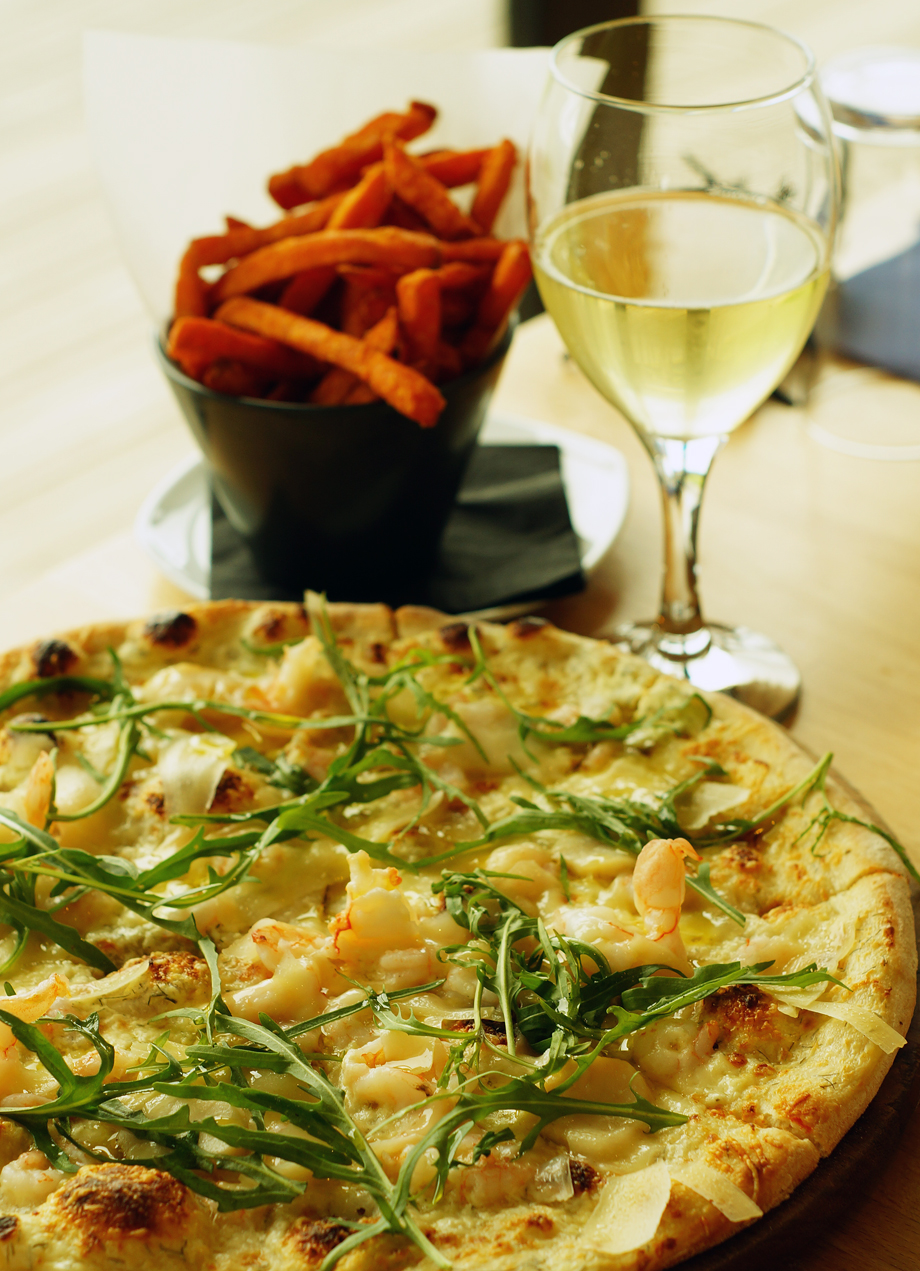 Seafood pizza from the restaurant at The Point Polzeath