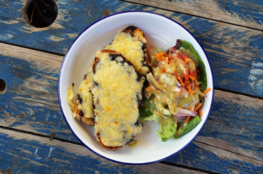 Cheese on Toast, La Cantina cafe, Mount Pleasant Eco Park Cornwall