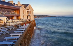 High tide at Godolphin Arms Marazion, featured on Muddy Stilettos
