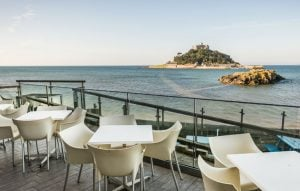 Restaurant Terrace at Godolphin Arms Marazion, featured on Muddy Stilettos