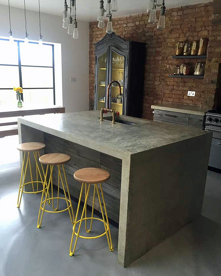 Arnolds Kitchens - kitchen design with concrete island and reclaimed timber cupboards