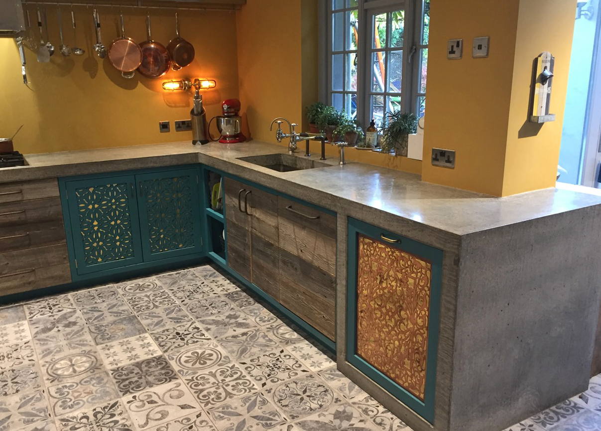 Arnold's Kitchens kitchen design, laser but cupboards, rustic wood drawers and patterned tiles