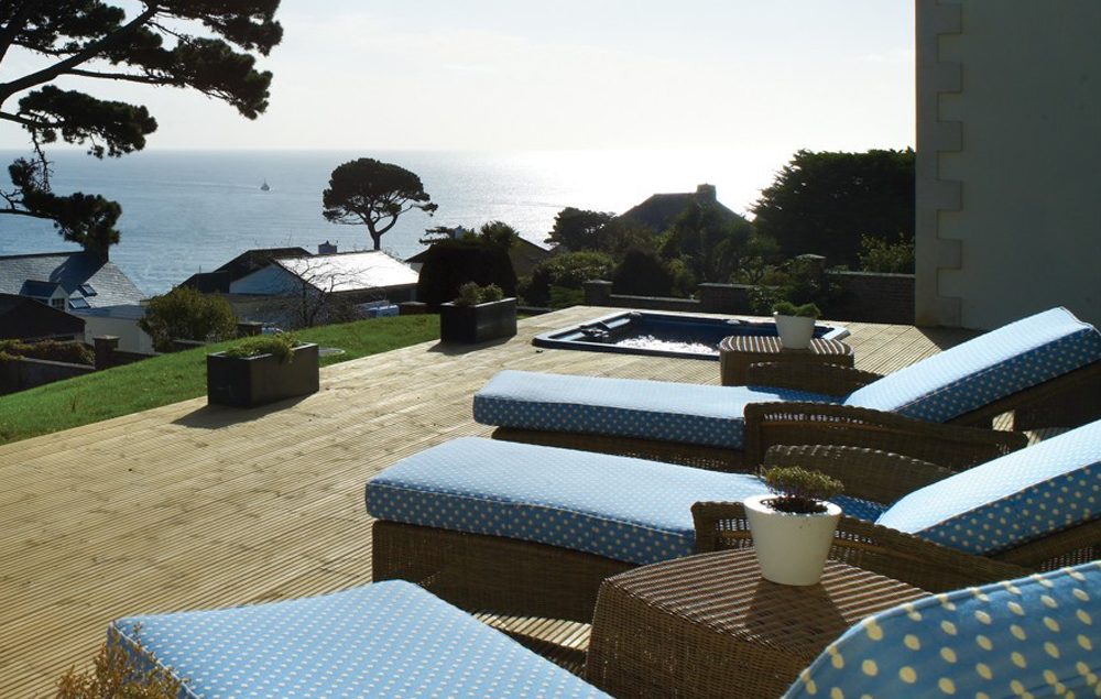 Fowey Hall Hotel Spa terrace, Cornwall