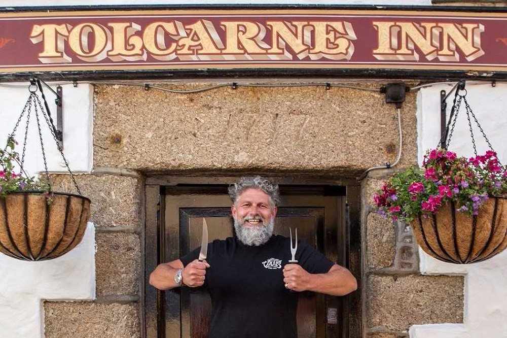 Ben Tunnicliffe outside his pub, The Tolcarne Inn