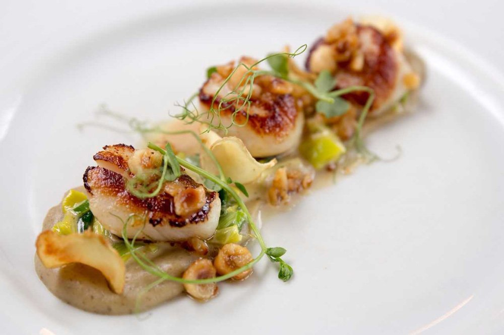 Scallops, Feed the 300 menu, Tolcarne Inn, Newlyn, Cornwall
