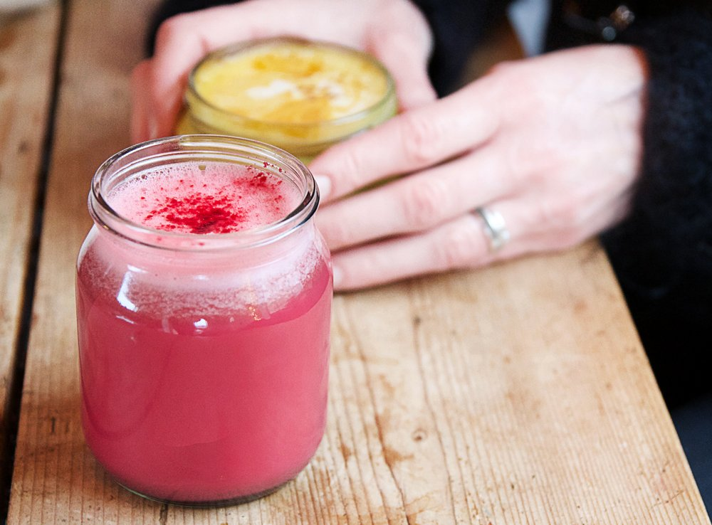 Jam Jar cafe Beetroot and turmeric lattes