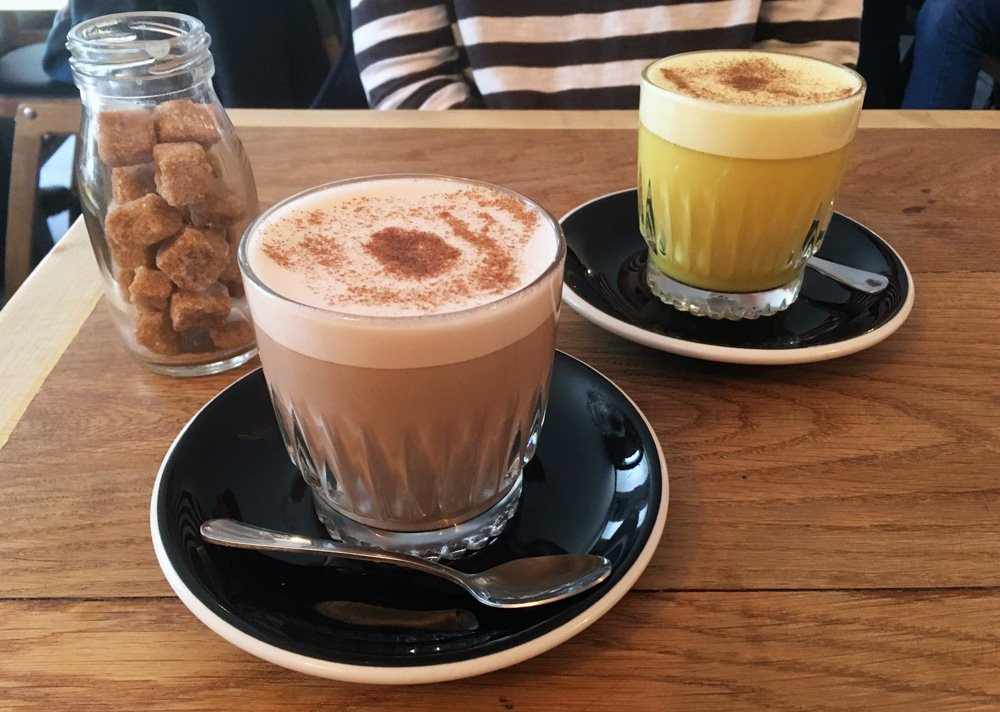 Chai and Turmeric lattes at Newquay cafe Box and Barber