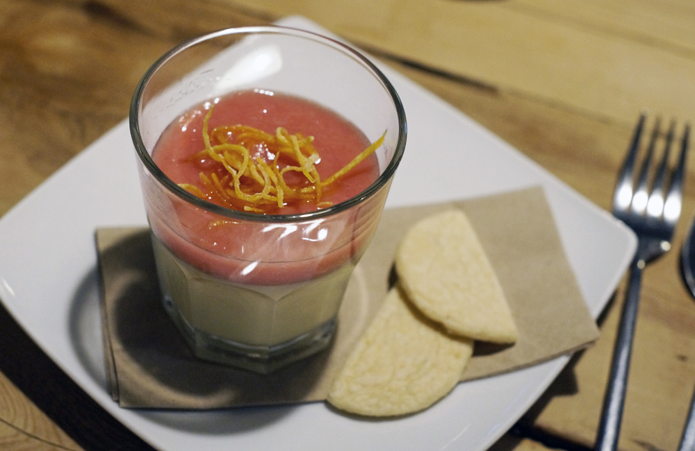 Halsetown Inn near St Ives, Orange Posset rhubarb and ginger compote, candied peel, stem ginger shortbread