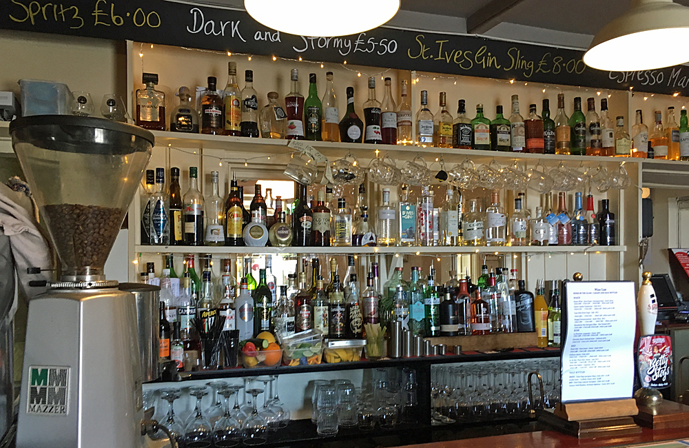 Halsetown Inn's spirit collection, pub near St Ives, Cornwall