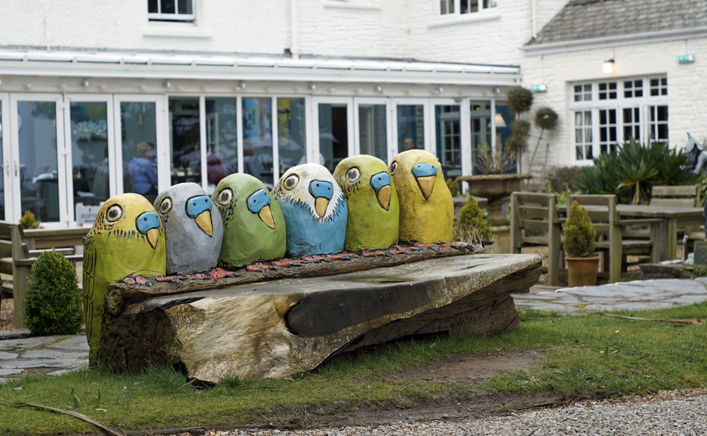 Budgie bench at Talland Bay Hotel Cornwall