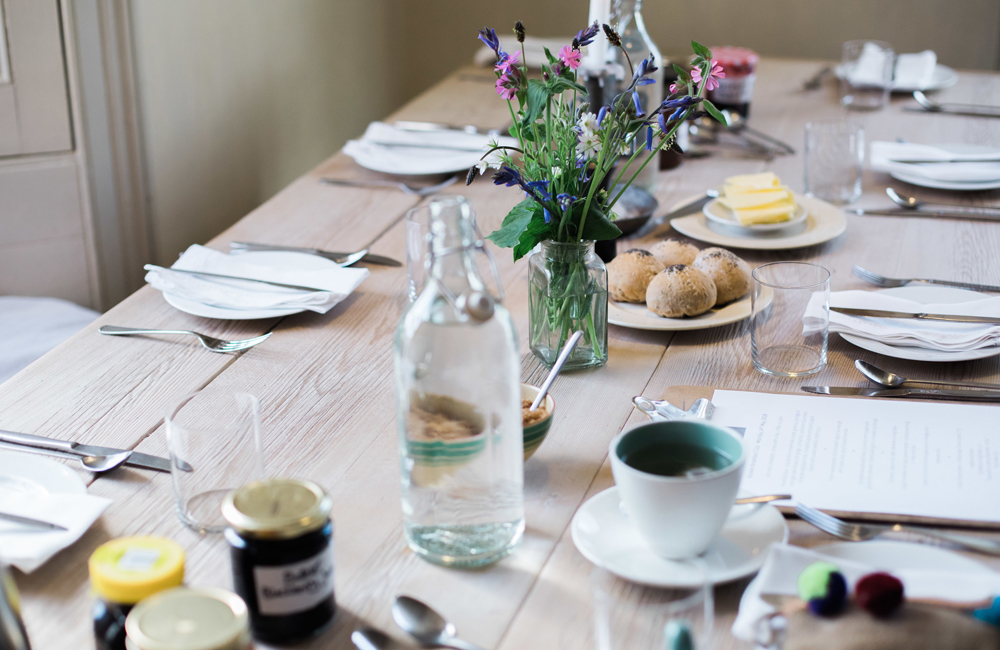 Botelet Farm Cornwall breakfast table