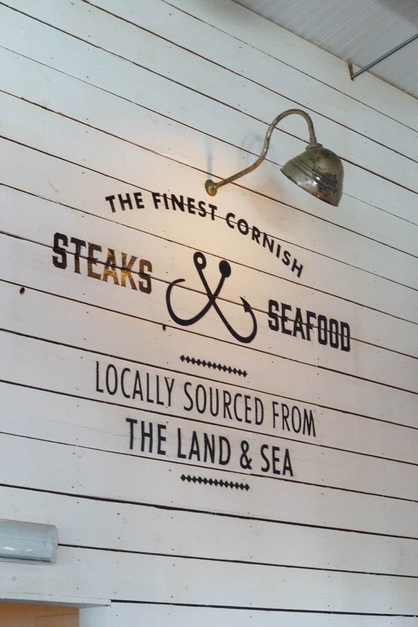 The Longstore Steaks and Seafood, Restaurant Review, Charlestown, Cornwall, Sign