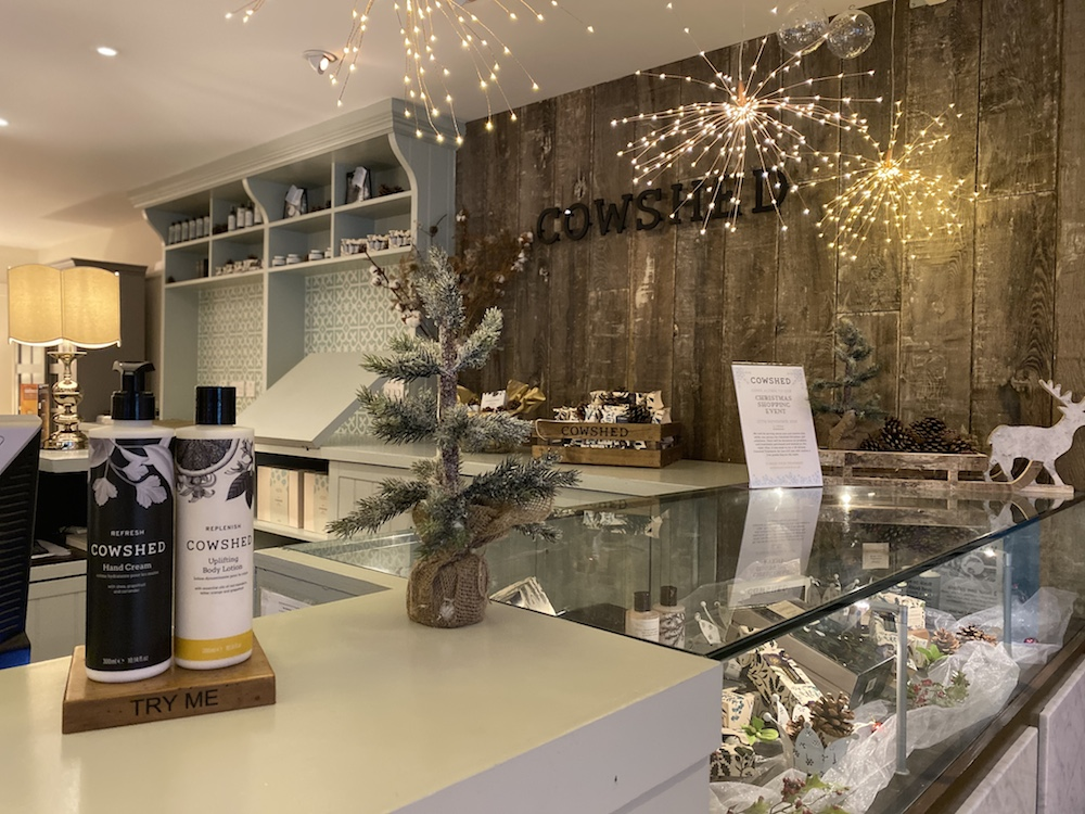 christmas decorations up at the cowshed spa at the st moritz hotel trebetherick rock cornwall