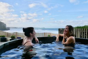 women in the hot tub chatting at watergate bay hotel