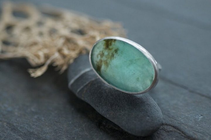 Peruvian+Blue+Opal+oval+Monolith+ring+light
